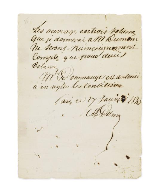 Alexandre DUMAS. Lettre autographe signée Alex. Dumas