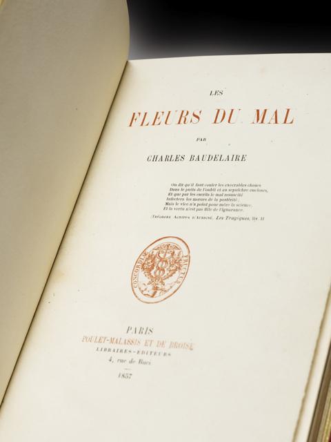 BAUDELAIRE. les Fleurs du Mal L'ÉDITION ORIGINALE EN PREMIER TIRAGE NON EXPURGÉE, RELIÉE PAR CHAMBOLLE-DURU !
