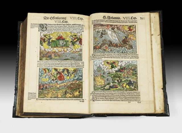 BIBLE luthérienne 1570. Une bible infiniment rare ! L'UN DES RARISSIMES EXEMPLAIRES RÉPERTORIÉS EN COULEUR DE L'ÉPOQUE!