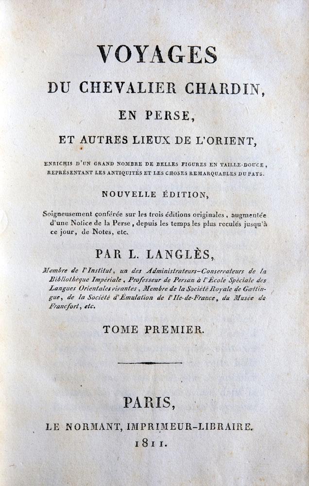 Les voyages du Chevalier Chardin en Perse